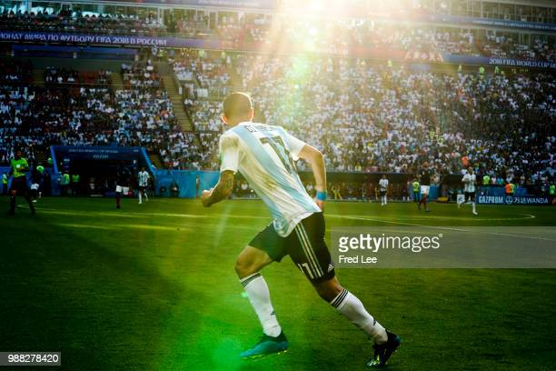 Angel Di Maria of Argentina reacts during the 2018 FIFA World Cup Russia Round of 16 match between France and Argentina at Kazan Arena on June 30...