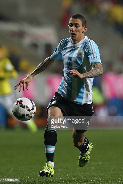 Angel di Maria of Argentina runs for the ball during the 2015 Copa America Chile quarter final match between Argentina and Colombia at Sausalito...