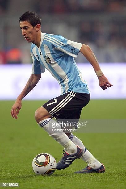 Angel Di Maria of Argentina runs with the ball during the International Friendly match between Germany and Argentina at the Allianz Arena on March 3...
