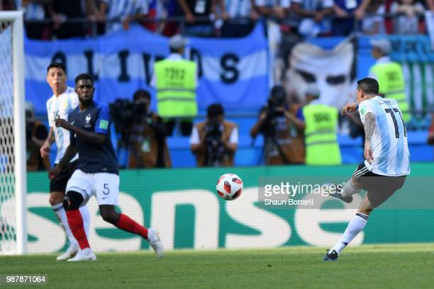 Angel Di Maria of Argentina scores his team's first goal during the 2018 FIFA World Cup Russia Round of 16 match between France and Argentina at...