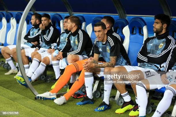 Angel Di Maria of Argentina sits on the bench as a substitute before the 2018 FIFA World Cup Russia Group D match between Argentina and Croatia at...