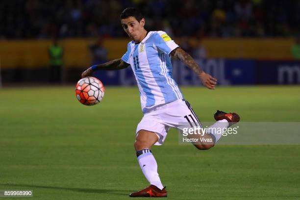 Angel Di Maria of Argentina takes a shot during a match between Ecuador and Argentina as part of FIFA 2018 World Cup Qualifiers at Olimpico Atahualpa...