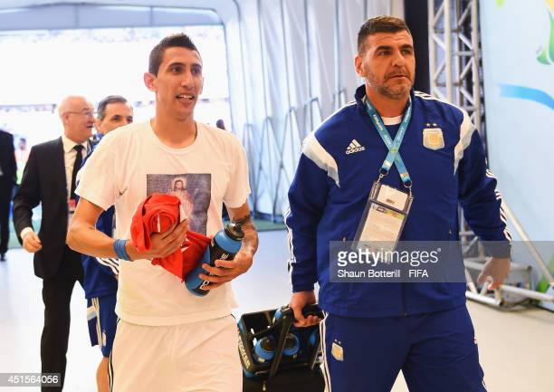 Angel di Maria of Argentina walks in the tunnel after during the 2014 FIFA World Cup Brazil Round of 16 match between Argentina and Switzerland at...