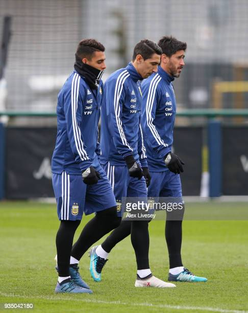 Angel Di Maria of Argentina walks out for an Argentina training session at Manchester City Football Academy on March 20 2018 in Manchester England