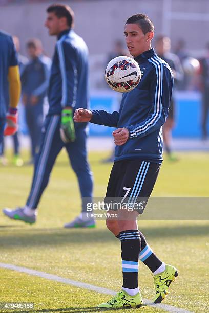Angel di Maria of Argentina wars up prior the 2015 Copa America Chile Final match between Chile and Argentina at Nacional Stadium on July 04 2015 in...