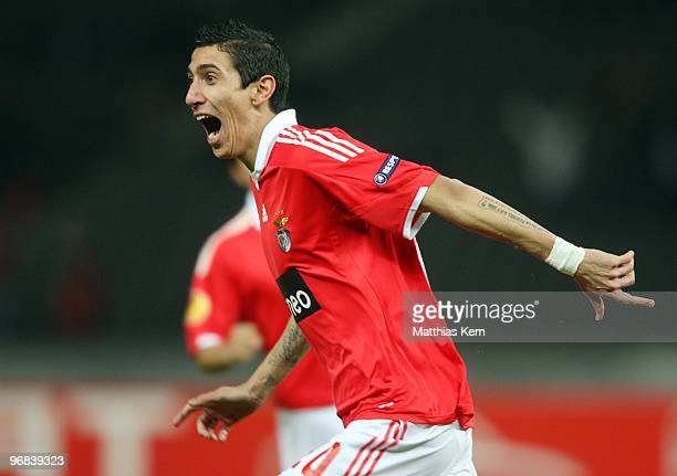 Angel Di Maria of Lisbon jubilates after scoring the first goal during the UEFA Europa League knock-out round, first leg match between Hertha BSC and...