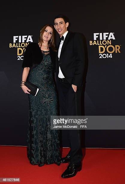 Angel Di Maria of Manchester United and Argentina and Jorgelina Cardoso arrive at the FIFA Ballon d'Or Gala 2014 at the Kongresshaus on January 12...