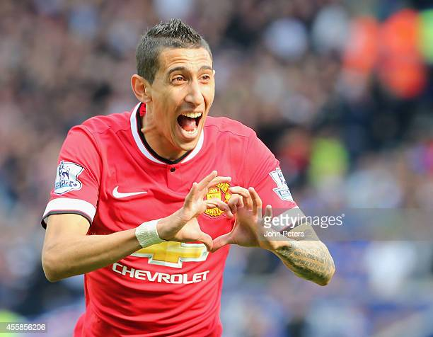 Angel di Maria of Manchester United celebrates scoring their second goal during the Barclays Premier League match between Leicester City and...