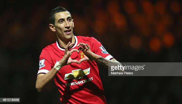 Angel di Maria of Manchester United celebrates scoring their second goal during the FA Cup Third Round match between Yeovil Town and Manchester...