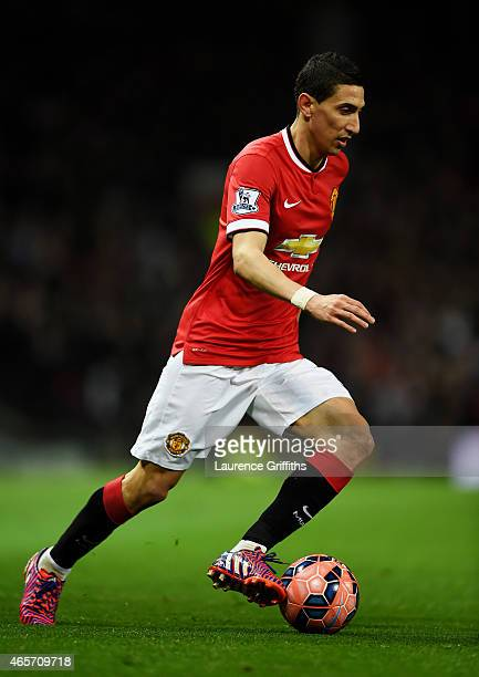 Angel di Maria of Manchester United controls the ball during the FA Cup Quarter Final match between Manchester United and Arsenal at Old Trafford on...