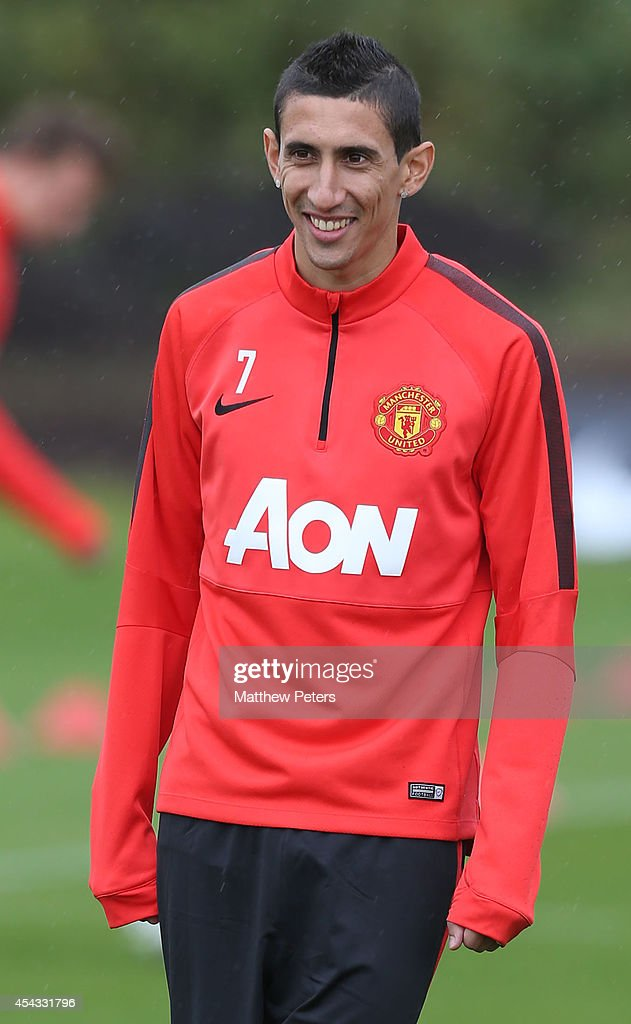 Angel di Maria of Manchester United in action during a first team training session at Aon Training Complex on August 29, 2014 in Manchester, England.