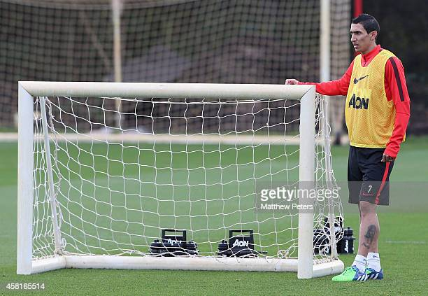 Angel di Maria of Manchester United in action during a first team training training session at Aon Training Complex on October 31 2014 in Manchester...