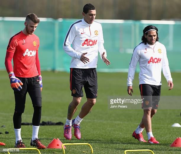 Angel di Maria of Manchester United in action during a first team training session at Aon Training Complex on April 10 2015 in Manchester England