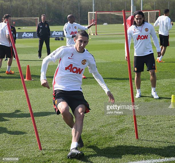 Angel di Maria of Manchester United in action during a first team training session at Aon Training Complex on April 24, 2015 in Manchester, England.