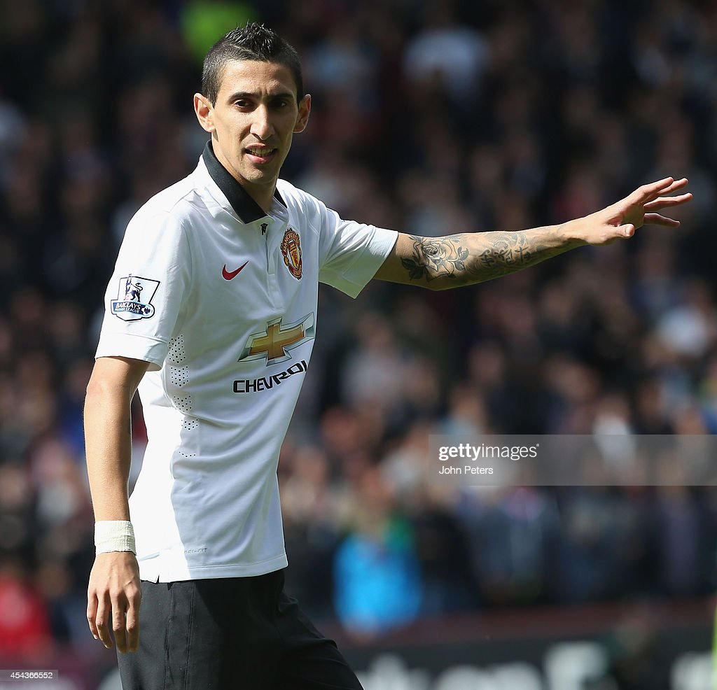 Angel di Maria of Manchester United in action during the Barclays Premier League match between Burnley and Manchester United at Turf Moor on August 30, 2014 in Burnley, England.