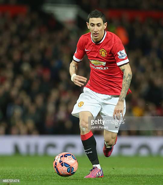 Angel di Maria of Manchester United in action during the FA Cup Quarter Final match between Manchester United and Arsenal at Old Trafford on March 9...