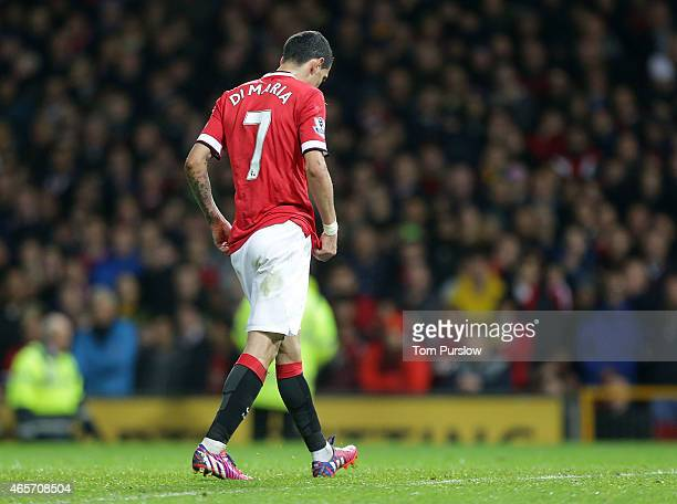 Angel di Maria of Manchester United is sent off during the FA Cup Quarter Final match between Manchester United and Arsenal at Old Trafford on March...