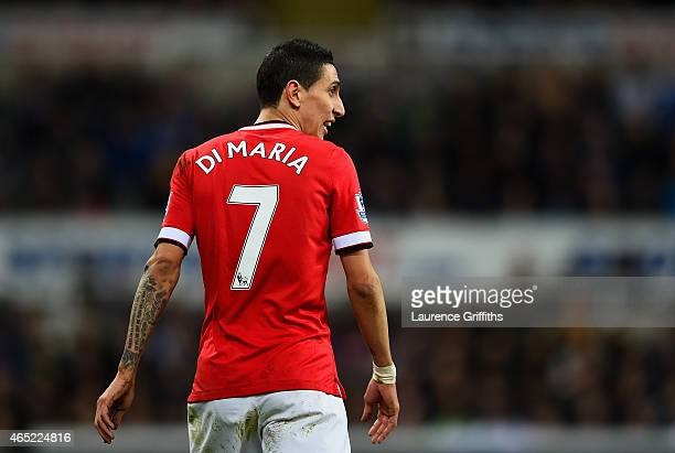 Angel di Maria of Manchester United looks on during the Barclays Premier League match between Newcastle United and Manchester United at St James'...