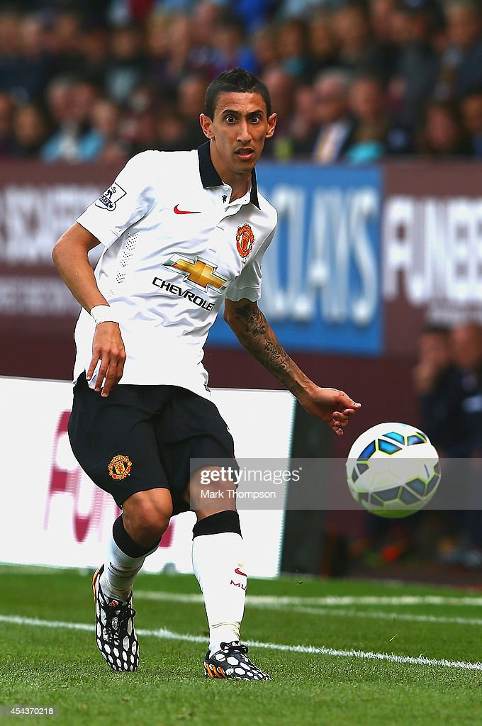 Angel di Maria of Manchester United passes the ball during the Barclays Premier League match between Burnley and Manchester United at Turf Moor on August 30, 2014 in Burnley, England.