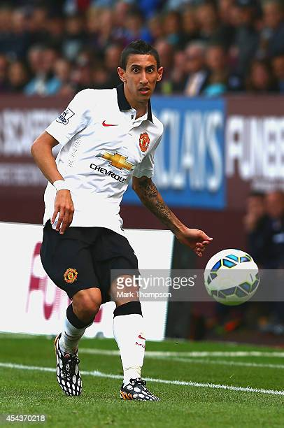 Angel di Maria of Manchester United passes the ball during the Barclays Premier League match between Burnley and Manchester United at Turf Moor on...