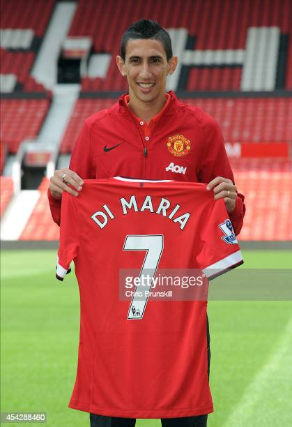Angel Di Maria of Manchester United poses for a photograph at Old Trafford on August 28 2014 in Manchester England