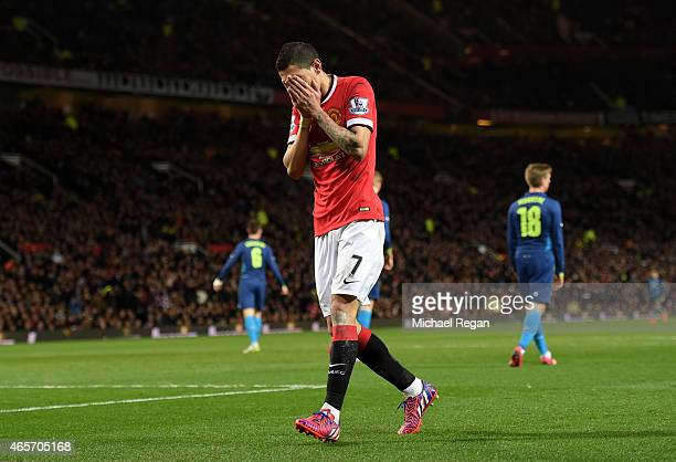 Angel di Maria of Manchester United reacts during the FA Cup Quarter Final match between Manchester United and Arsenal at Old Trafford on March 9...