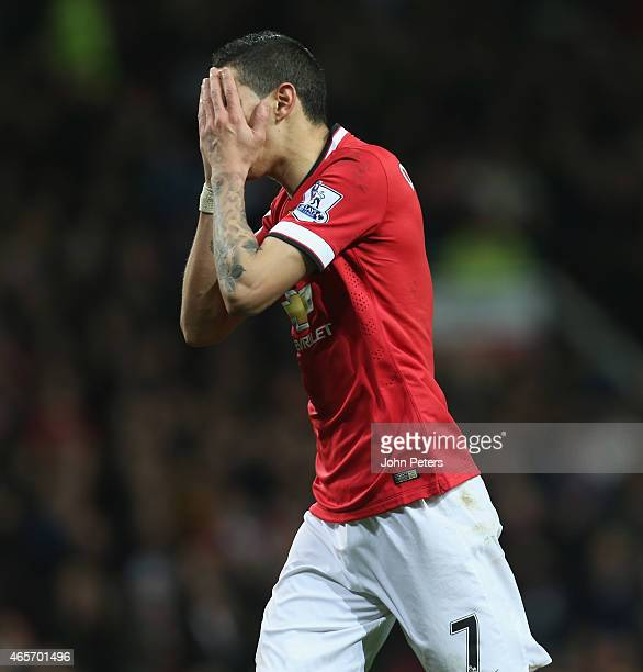 Angel di Maria of Manchester United reacts to a missed chance during the FA Cup Quarter Final match between Manchester United and Arsenal at Old...