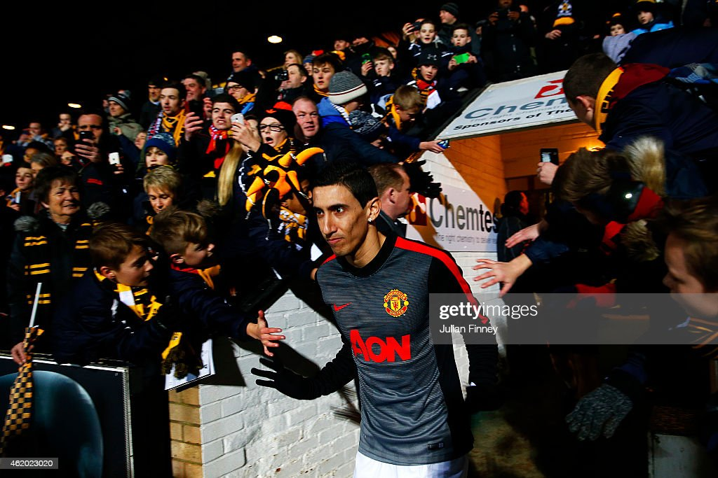 Angel di Maria of Manchester United walks out for the warm-up before the FA Cup Fourth Round match between Cambridge United and Manchester United at The R Costings Abbey Stadium on January 23, 2015 in Cambridge, England.