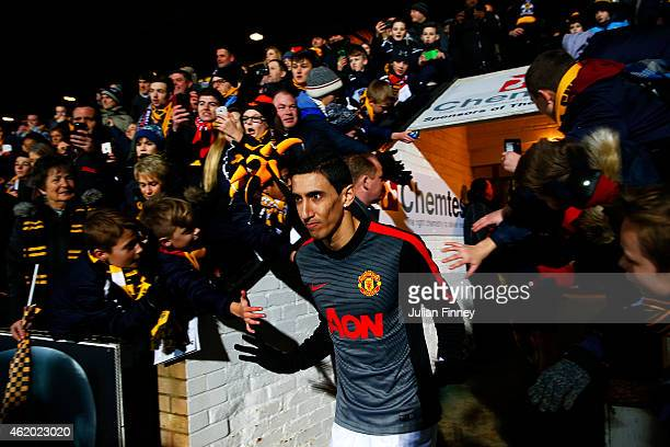 Angel di Maria of Manchester United walks out for the warmup before the FA Cup Fourth Round match between Cambridge United and Manchester United at...