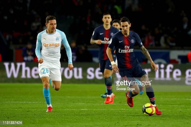 Angel Di Maria of Paris Saint Germain and Florian Thauvin of Olympique de Marseille during the Ligue 1 match between Paris Saint Germain and...