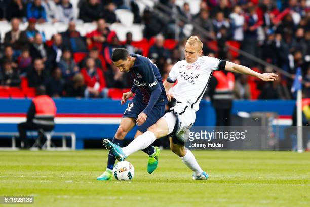 Angel di Maria of Paris Saint Germain and Lukas Pokorny of Montpellier during the French Ligue 1 match between Paris Saint Germain and Montpellier...