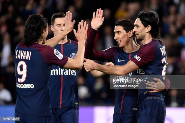 Angel Di Maria of Paris Saint Germain celebrates 51 with Julian Draxler of Paris Saint Germain Edinson Cavani of Paris Saint Germain Javier Pastore...
