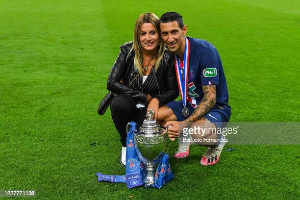 Angel DI MARIA of Paris Saint Germain celebrates hiq victory with his wife Jorgelina CARDOSO after the French Cup Final soccer match between Paris...