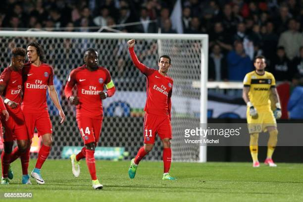 Angel Di Maria of Paris Saint Germain celebrates scoring during the Ligue 1 match between Angers SCO and Paris Saint Germain PSG on April 14 2017 in...