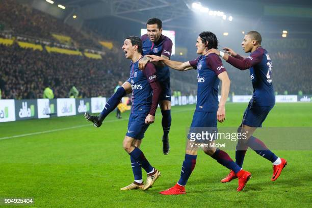 Angel Di Maria of Paris Saint Germain celebrates with teammates after the first goal during the Ligue 1 match between FC Nantes and Paris Saint...