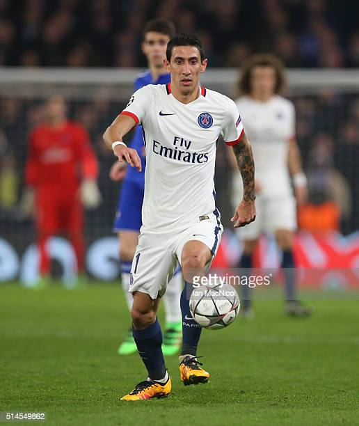 Angel Di Maria of Paris Saint Germain controls the ball during the UEFA Champions League Round of 16 Second Leg match between Chelsea and Paris...