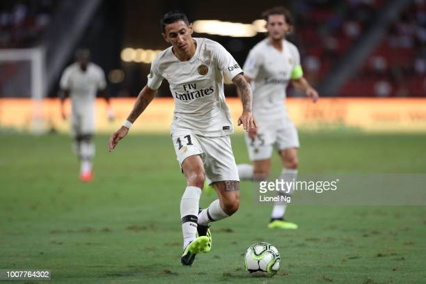 Angel Di Maria of Paris Saint Germain dribbles the ball during the International Champions Cup match between Paris Saint Germain and Club de Atletico...