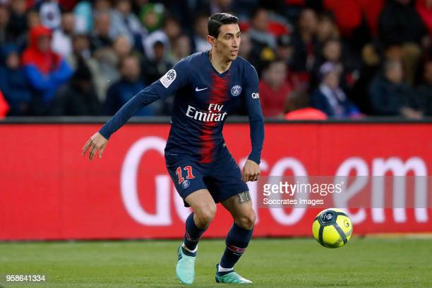 Angel Di Maria of Paris Saint Germain during the French League 1 match between Paris Saint Germain v Rennes at the Parc des Princes on May 12 2018 in...