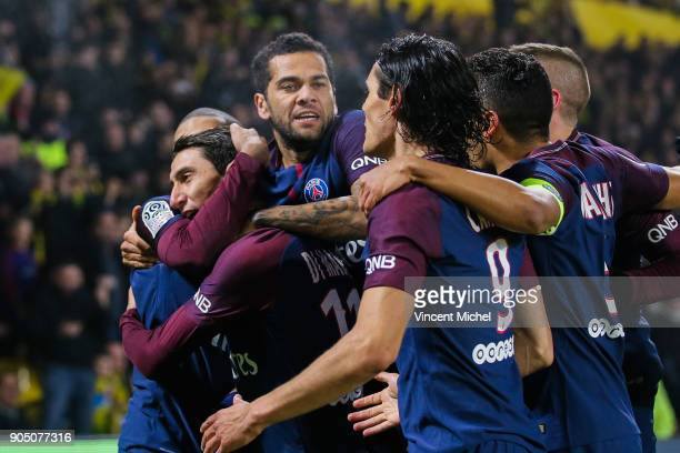 Angel Di Maria of Paris Saint Germain jubilates with teammates after the first goal during the Ligue 1 match between FC Nantes and Paris Saint...
