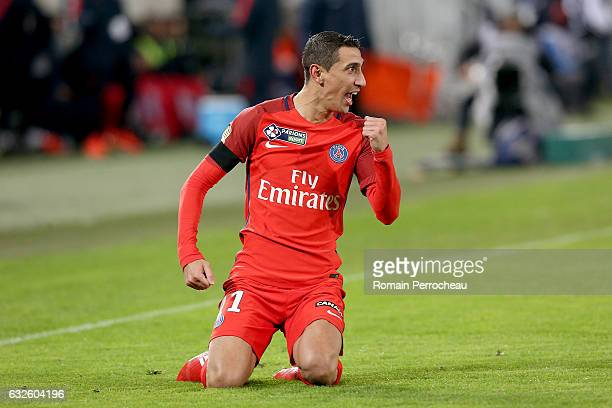Angel Di Maria of Paris Saint Germain reacts after his goal during the Semi Final League Cup match between Bordeaux and Paris Saint Germain at Stade...