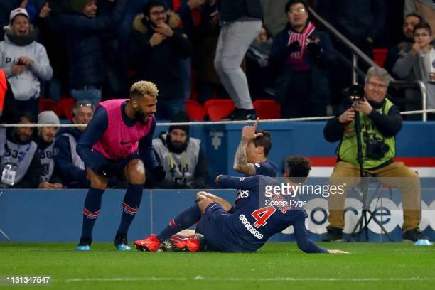 Angel Di Maria of Paris Saint Germain Thilo Keher of Paris Saint Germain and Eric Maxim Choupo Moting of Paris Saint Germain during the Ligue 1 match...