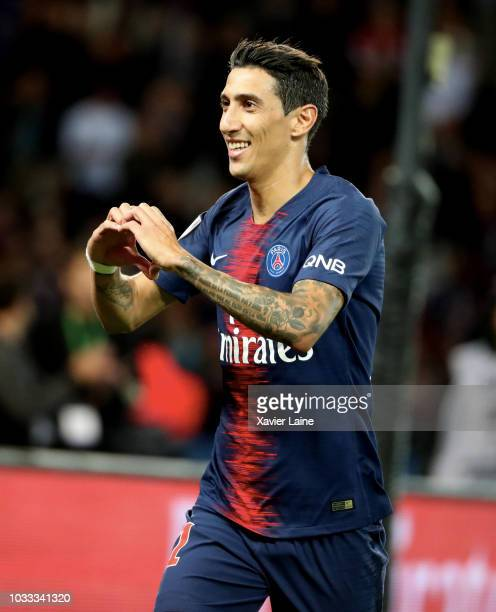 Angel Di Maria of Paris SaintGermain celebrate his goal during the French Ligue 1 match between Paris Saint Germain and AS Saint Etienne on September...