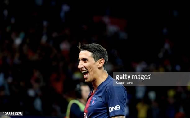 Angel Di Maria of Paris SaintGermain celebrate his goal during the French Ligue 1 match between Paris Saint Germain and AS Saint Etienne on September...