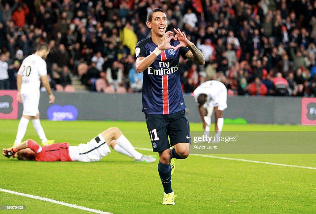 Angel Di Maria of Paris Saint-Germain celebrate his goal during the French Ligue 1 between Paris Saint-Germain FC and EA Guingamp at Parc Des Princes on september 22, 2015 in Paris, France.