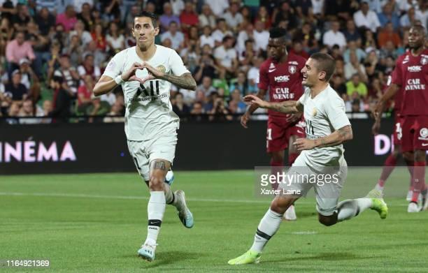 Angel Di Maria of Paris SaintGermain celebrate his goal with Marco Verratti during the Ligue 1 match between FC Metz and Paris SaintGermain at Stade...