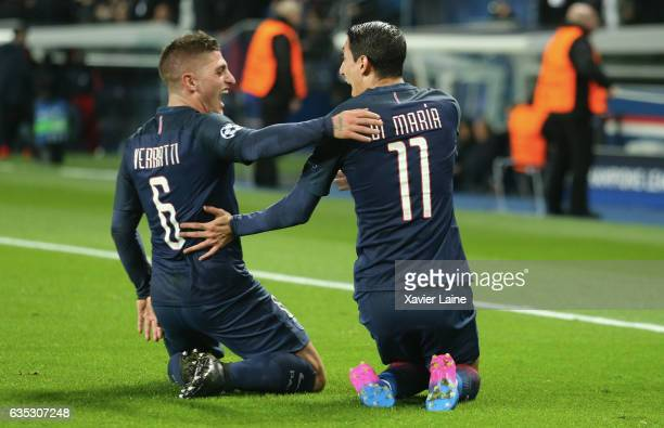 Angel Di Maria of Paris SaintGermain celebrate his goal with Marco Verratti during the UEFA Champions League Round of 16 first leg match between...