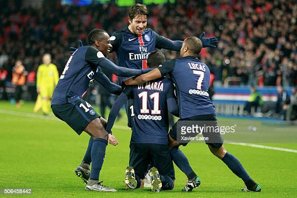 Angel Di Maria of Paris SaintGermain celebrates his first goal with Lucas Moura Blaise Matuidi and Maxwell during the French Ligue 1 between Paris...