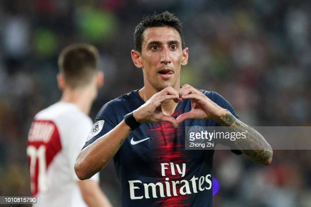 Angel Di Maria of Paris SaintGermain celebrates his goal during the French Trophy of Champions football match between AS Monaco and Paris...