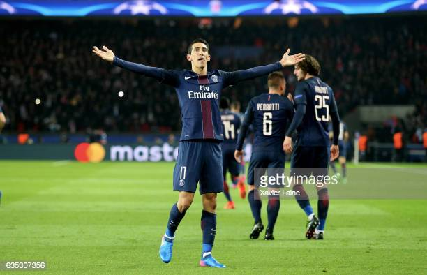 Angel Di Maria of Paris Saint-Germain celebrates his goal during the UEFA Champions League Round of 16 first leg match between Paris Saint-Germain...