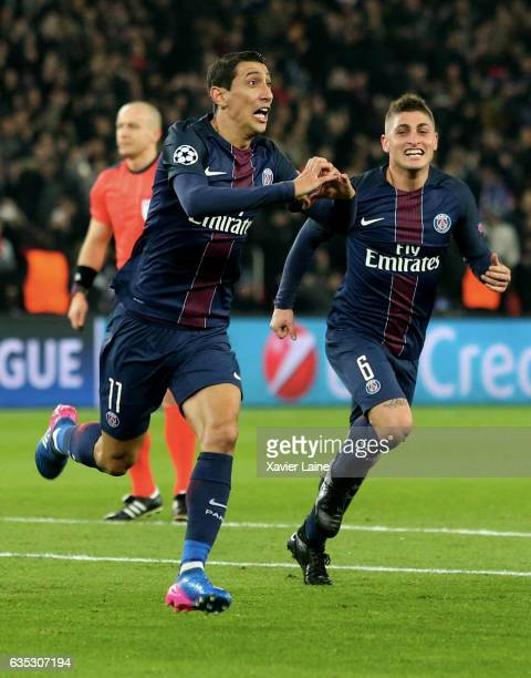 Angel Di Maria of Paris SaintGermain celebrates his goal with Marco Verratti during the UEFA Champions League Round of 16 first leg match between...